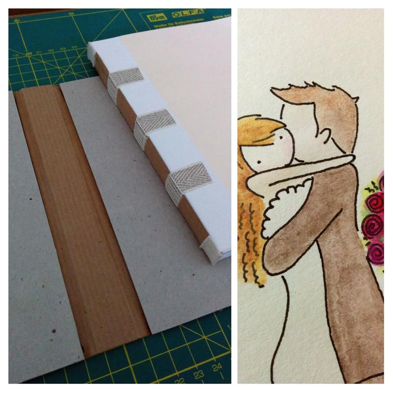 Hochzeitsbuch, der Buchblock ist schon fertig.